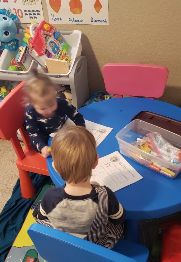 Toddler kids helping children